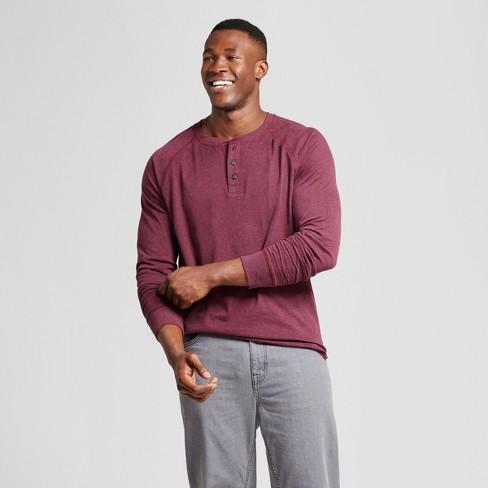 Men's Big & Tall Standard Fit Long Sleeve Henley T-Shirt - Goodfellow & Co™ Burgundy LT - image 1 of 3