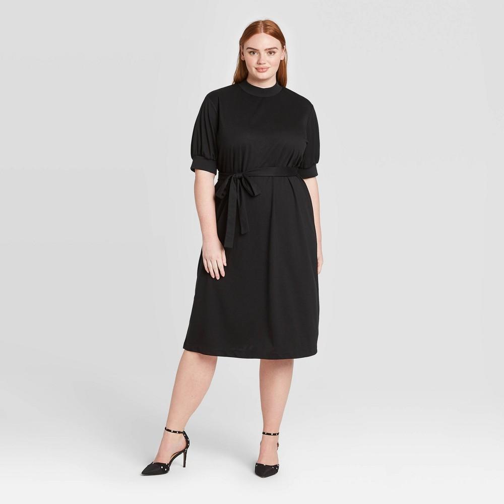 Women's Plus Size Elbow Sleeve High Neck Rib Trim A-Line Midi Dress - Who What Wear Black 4X was $38.99 now $27.29 (30.0% off)