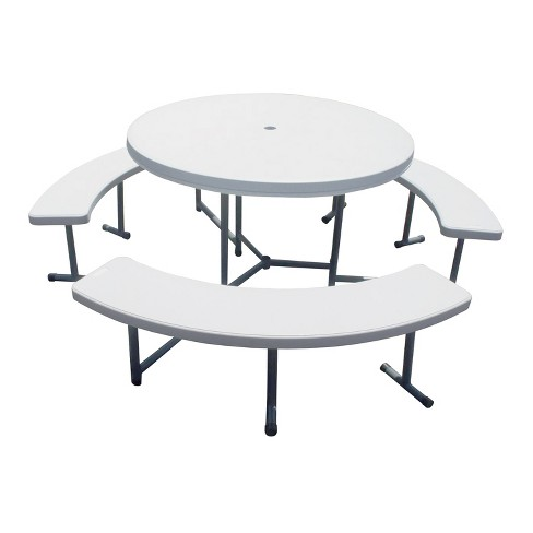 Outdoor Indoor Heavy Duty Dining, Round Picnic Table With Umbrella Hole