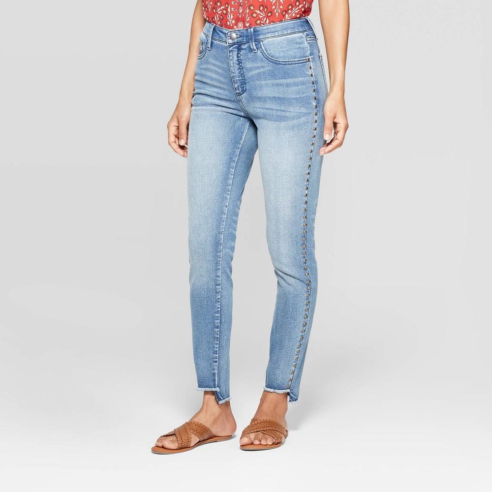 Women's Mid-Rise Embroidered Wide Leg Fashion Pants - Knox Rose Indigo 6, Blue