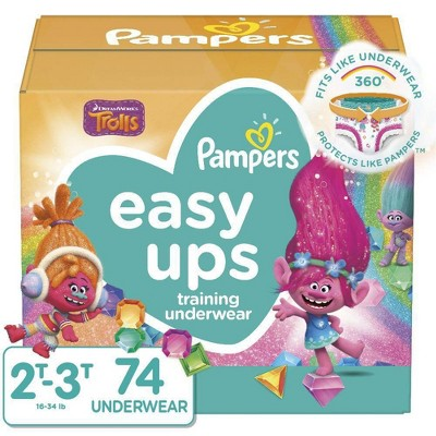 Pampers Easy Ups Training Underwear Girls Super Pack - Size 4 2T-3T - 74ct