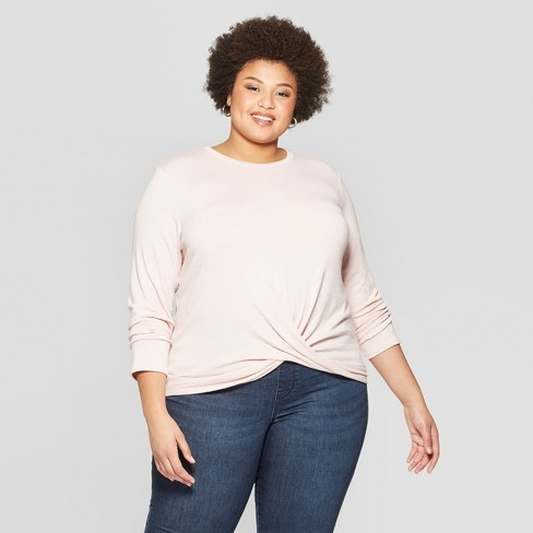 99bcd724b81 Women s Plus Size Long Sleeve Scoop Neck Twisted Knit Top - Ava   Viv™