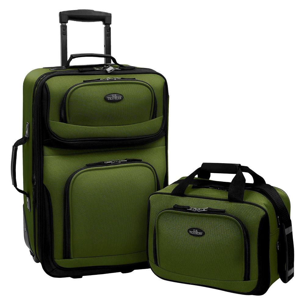 U S Traveler Rio 2pc Expandable Carry On Luggage Set Green