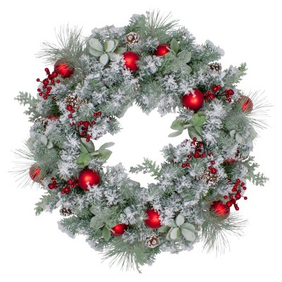 """Northlight 40"""" Flocked Artificial Mixed Pine and Red Ball Christmas Wreath- Unlit"""