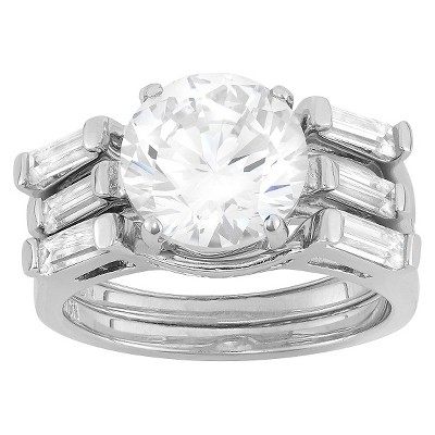 4.95 CT. T.W. Cubic Zirconia Engagement Ring Set In Sterling Silver