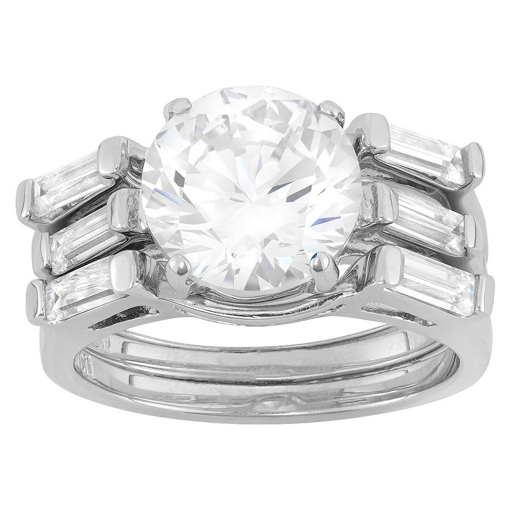 4.95 CT. T.W. 10mm Round-Cut Cubic Zirconia Designer 3-Piece Ring Set with Side Stones In Sterling Silver - (6), Girl's