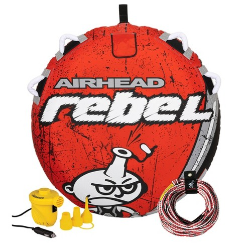 Airhead Rebel 54 Inch 1 Person Durable Red Towable Tube Kit w/ Rope and 12V Pump - image 1 of 4