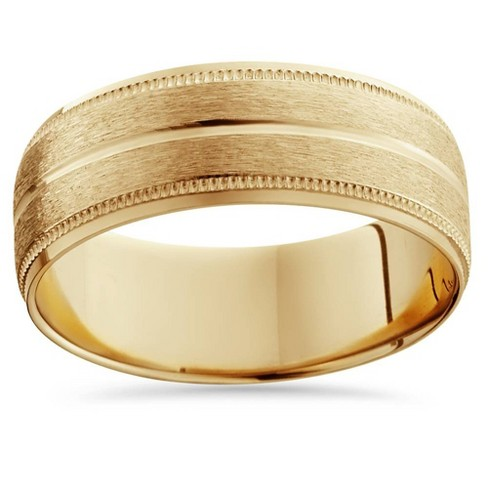 Pompeii3 14K Yellow Gold Mens Brushed Double Line Mens Wedding Band 9mm Ring - image 1 of 3