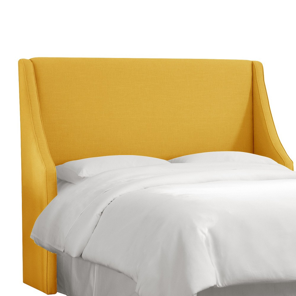King Swoop Arm Wingback Headboard Linen French Yellow - Skyline Furniture