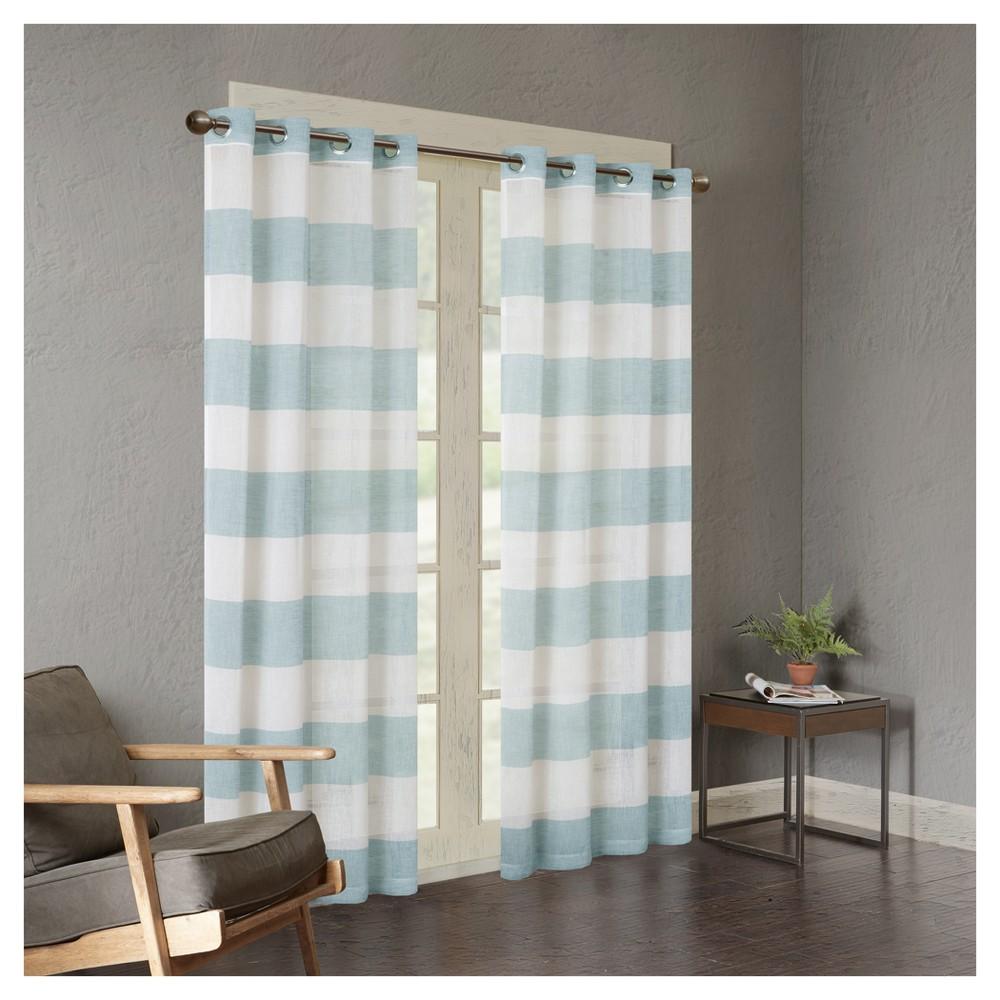 Elliot Yarn Dyed Woven Sheer Window Curtain Panel Blue (50