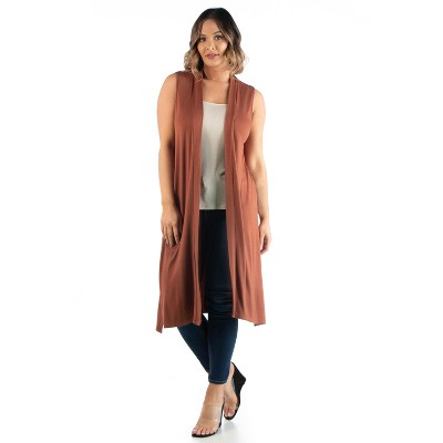 24seven Comfort Apparel Women's Plus Long Sleeveless Vest
