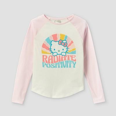 Girls' Hello Kitty Radiate Positivity Raglan Long Sleeve Graphic T-Shirt - Pink/Off-White