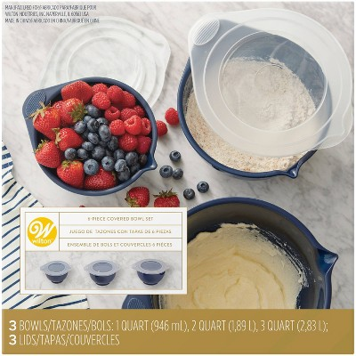 Wilton 6pc Covered Mixing Bowl Set Navy Blue