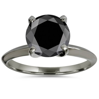 Pompeii3 8MM Black Spinel Solitaire Round Engagement Ring 14k White Gold