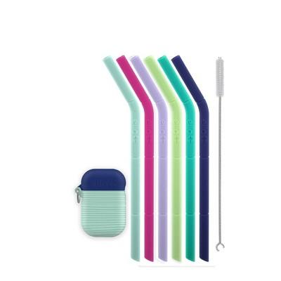 Ello 8pc Silicone Kids' Fold and Store Straw Set