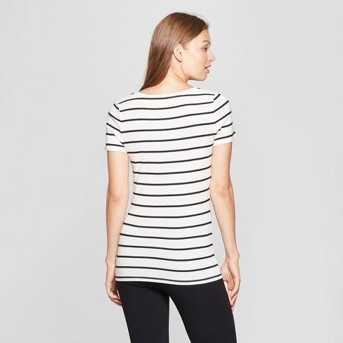 6bb5949e9dbde5 Women s Striped Short Sleeve Fitted V-Neck T-Shirt - A New Day™ White Black