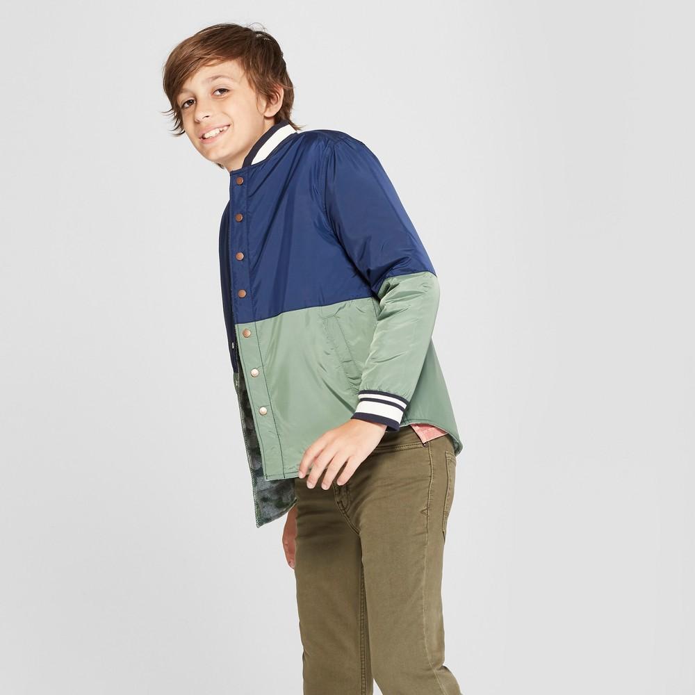 Boys' Reversible Shirt Jacket – Cat & Jack Green/Navy M