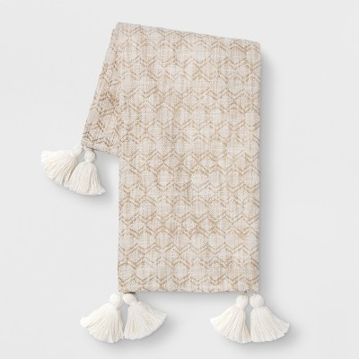 Woven Geo with Tassels Throw Blanket Neutral - Opalhouse™