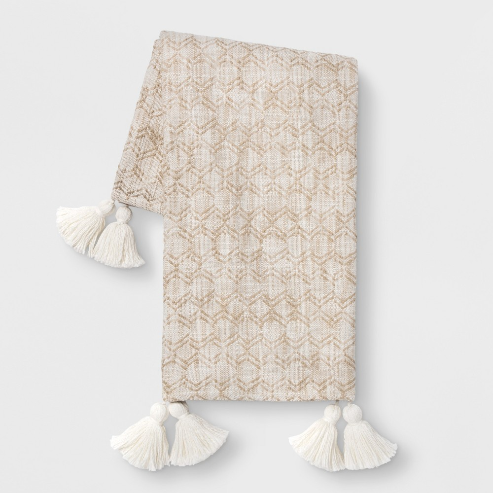 Woven Geo with Tassels Throw Blanket Neutral - Opalhouse