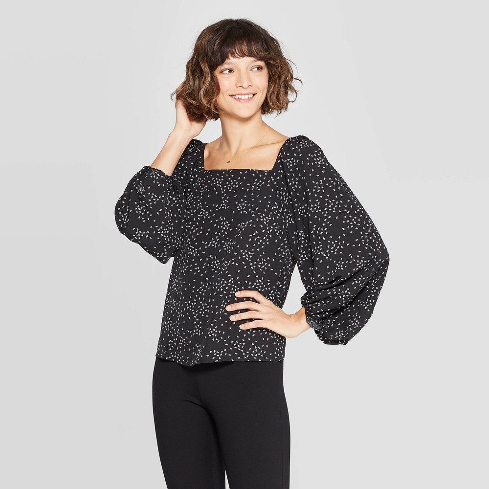 Women's Long Sleeve Floral Print Square Neck Blouse - A New Day Black L
