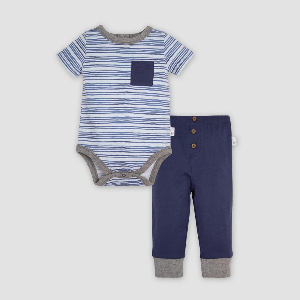 Burt's Bees Baby Baby Boys' Organic Cotton On the Road Bodysuit & Cuff Pant Set - Indigo 18M, Blue