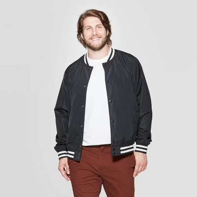 Men's Big & Tall Long Sleeve Solid Color Varsity Bomber Jacket - Goodfellow & Co™ Black
