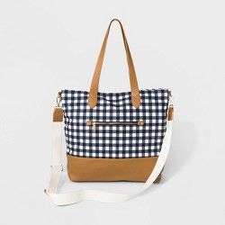 Gingham Canvas Tote Handbag - A New Day™