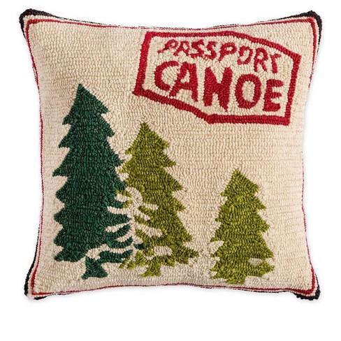 """Indoor / Outdoor Hooked Passport Canoe 18"""" Sq Throw Pillow - Plow & Hearth - image 1 of 1"""