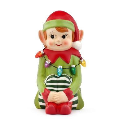 """Mr. Christmas Nostalgic Elf LED Ceramic Figure Christmas Decoration - 12"""""""