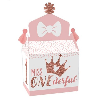 Big Dot of Happiness 1st Birthday Little Miss Onederful - Treat Box Party Favors - Girl First Birthday Party Goodie Gable Boxes - Set of 12