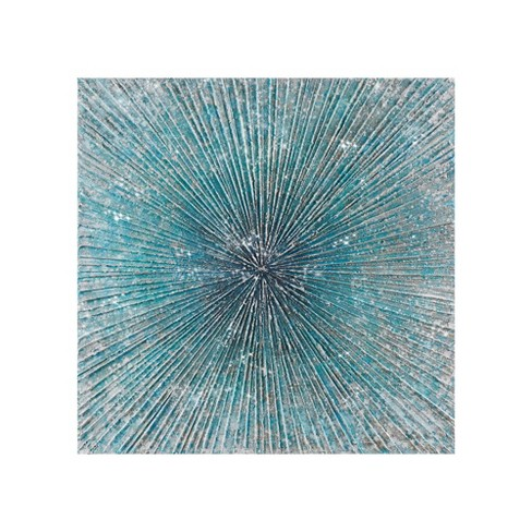 Bursting Blue Star Heavy Textured Glitter Embellished Abstract Square Canvas Blue - image 1 of 4