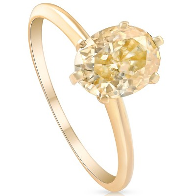 Pompeii3 2Ct Fancy Yellow Oval Solitaire Moissanite Engagement Ring 14k Yellow Gold