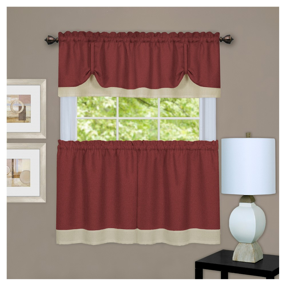 "Image of 50""x36"" Darcy Tier and Window Valance Set Burgundy (Red) - Achim"