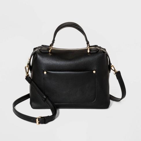 Zip Closure Satchel Handbag - A New Day™ - image 1 of 3