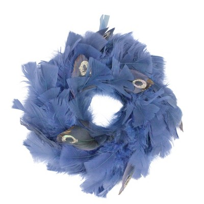 """Northlight 10"""" Unlit Blue Feather Artificial Christmas Wreath"""