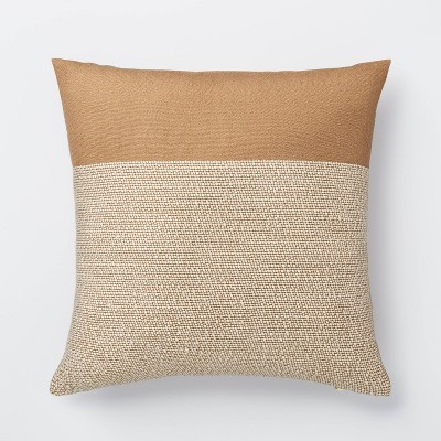 Color Block Square Throw Pillow Cream/Brown - Threshold™ designed with Studio McGee