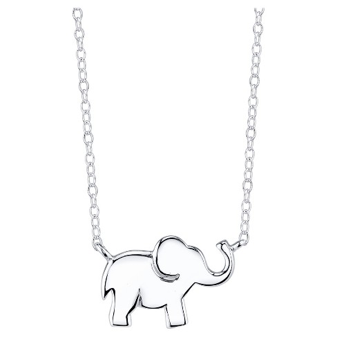 "Women's Sterling Silver Elephant Station necklace - Silver (18"") - image 1 of 2"