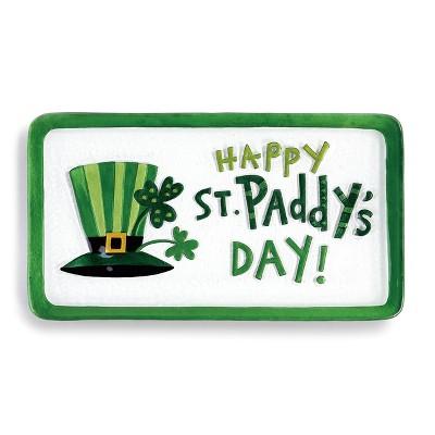 DEMDACO Happy St. Paddy's Day Platter 15 x 8 - Green