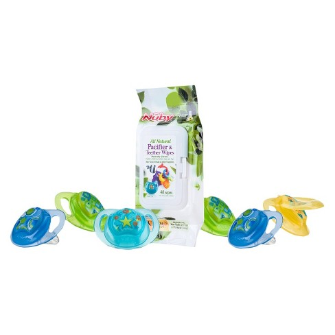 Nûby 6pk Natural Touch Comfort Pacifier and 48pk Citroganix Pacifier Wipes - 0-6 Months - Boy - image 1 of 1