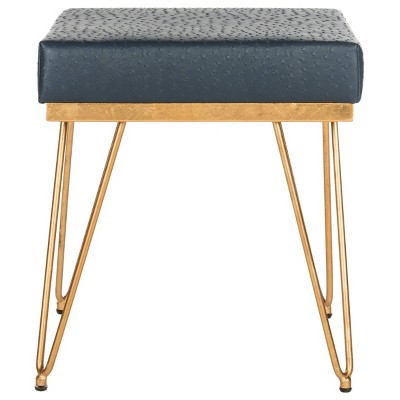Jenine Faux Ostrich Square Bench - Navy - Safavieh