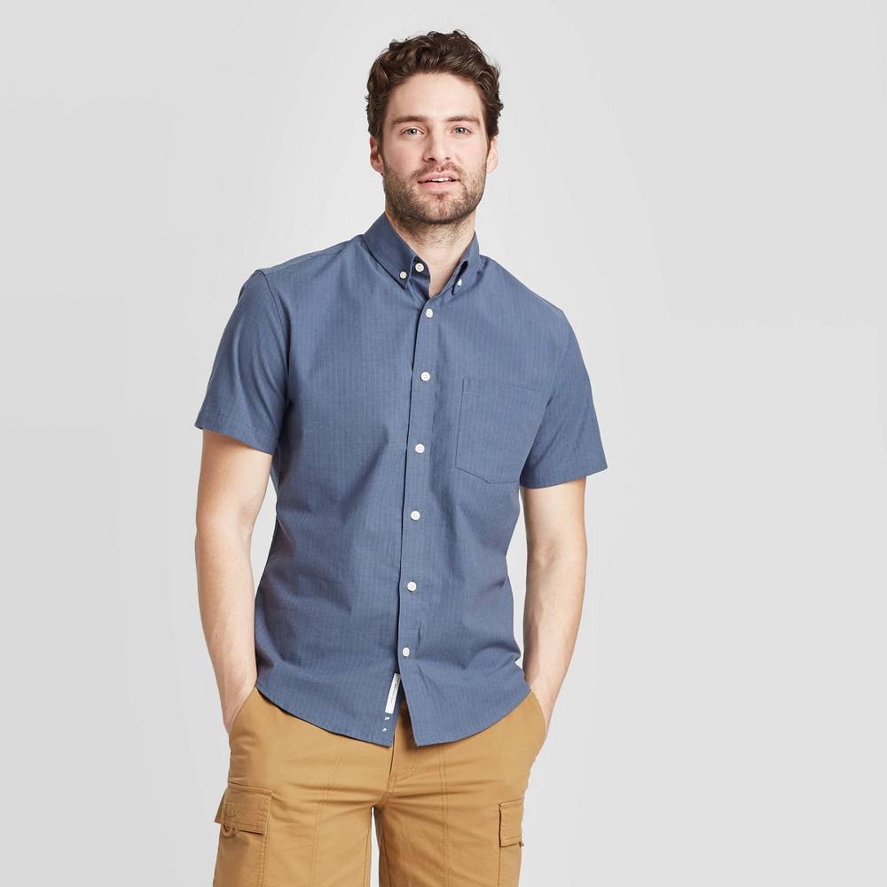 Men's Striped Standard Fit Short Sleeve Button-Down Shirt - Goodfellow & Co Dark Blue 2XL was $19.99 now $12.0 (40.0% off)