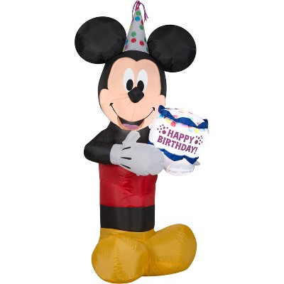 Gemmy Airblown Inflatable Birthday Party Mickey Mouse with Cake, 3.5 ft Tall, black