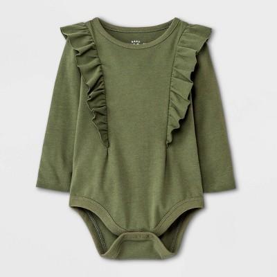 Baby Girls' Ruffle Long Sleeve Bodysuit - Cat & Jack™ Olive Green Newborn
