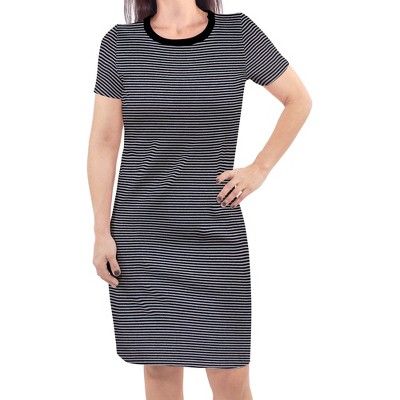 Touched by Nature Womens Organic Cotton Short-Sleeve Dress, Black Heather Gray