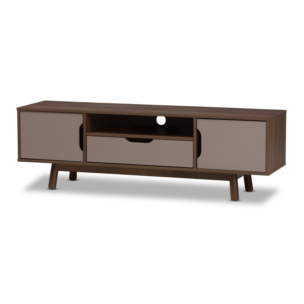 Britta Mid Century Modern Walnut and Two Tone Finished Wood TV Stand Gray - Baxton Studio, Brown