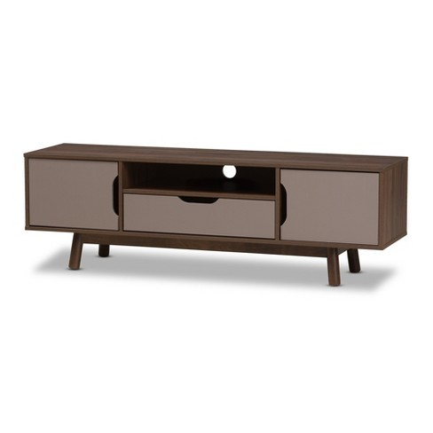 Britta Mid Century Modern Walnut And Two Tone Finished Wood Tv Stand