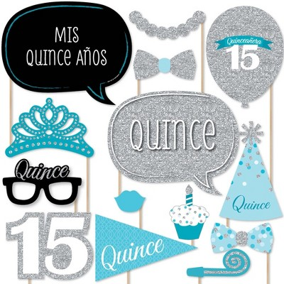 Big Dot of Happiness Quinceanera Teal - Sweet 15 - Birthday Party Photo Booth Props Kit - 20 Count