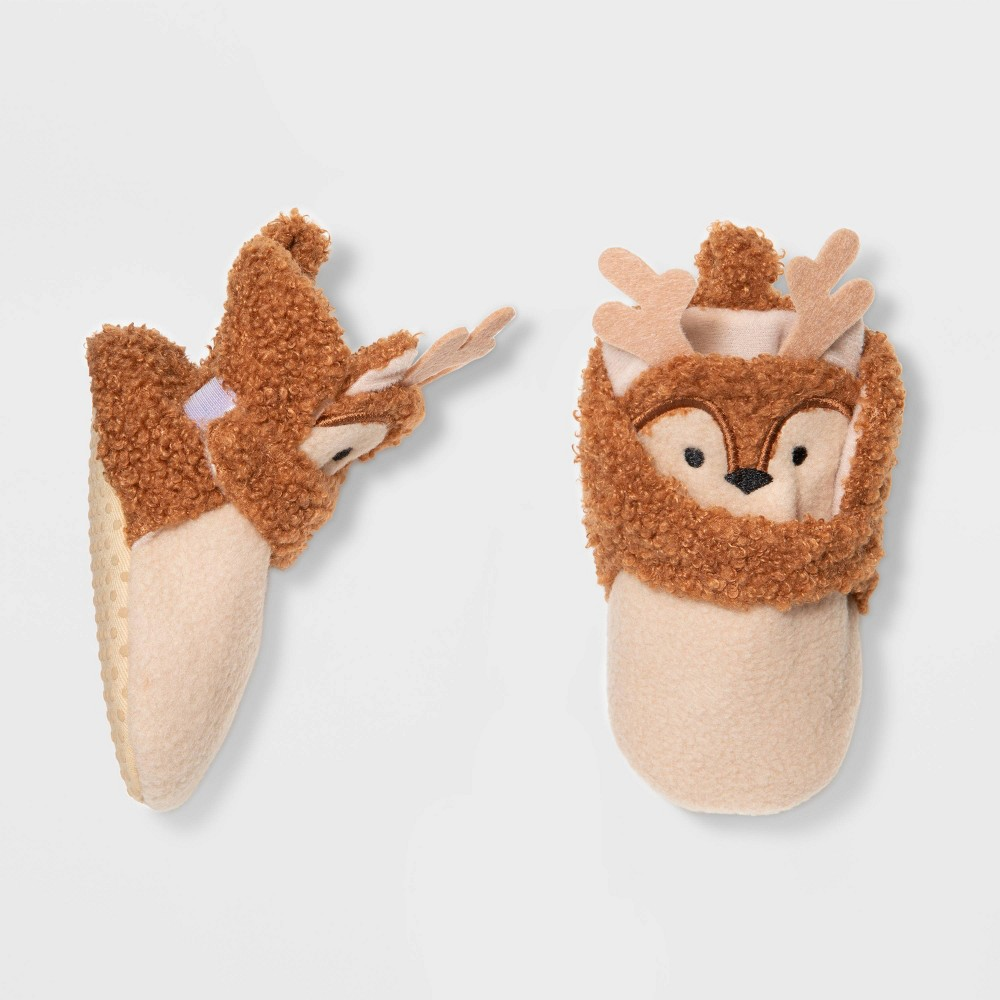 Image of Baby Girls' Reindeer Wrap Bootie - Cat & Jack Brown 0-3M, Girl's
