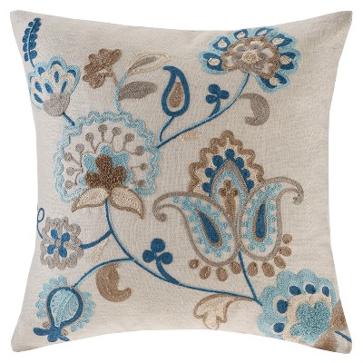 Blue/Taupe Spring Florals Linen Embroidered Square Throw Pillow 20 x20