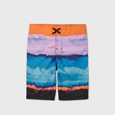 Boys' Tie-Dye Colorblock Classic Board Swim Trunks - art class™ Orange